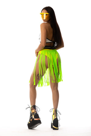 Exclusive Shredded Rave Skirt with Attached High Cut Bottom