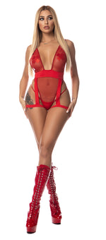 Exclusive 1pc Mesh Bodysuit with Attached Garter