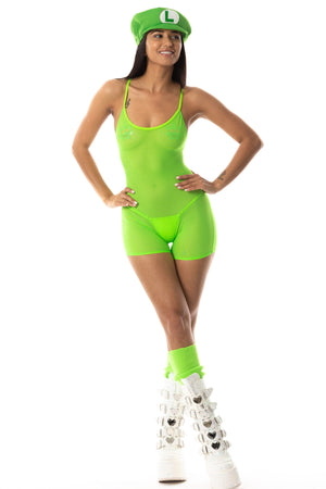 Exclusive Playthings Green Mesh Retro Bodysuit