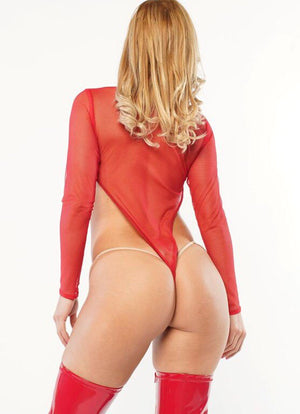 Exclusive Sheer Mesh Red Bodysuit PTS02