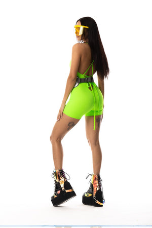 Exclusive Playthings Neon Lime Retro Bodysuit