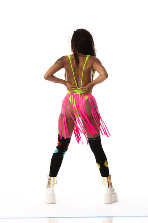 Exclusive Shredded Skirt with Attached High Cut Bottom Hot Pink/Neon