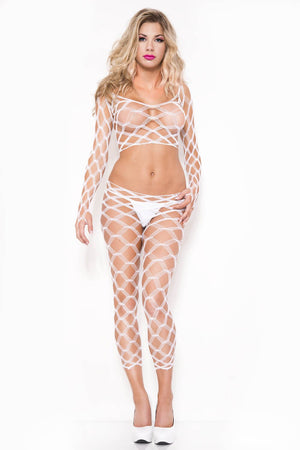 Spandex Multi Fence Net Cami with Long Sleeves and Footless Tights