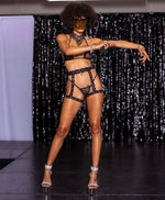 3pc Rhinestoned  Tri Top, G-string, Garter Belt