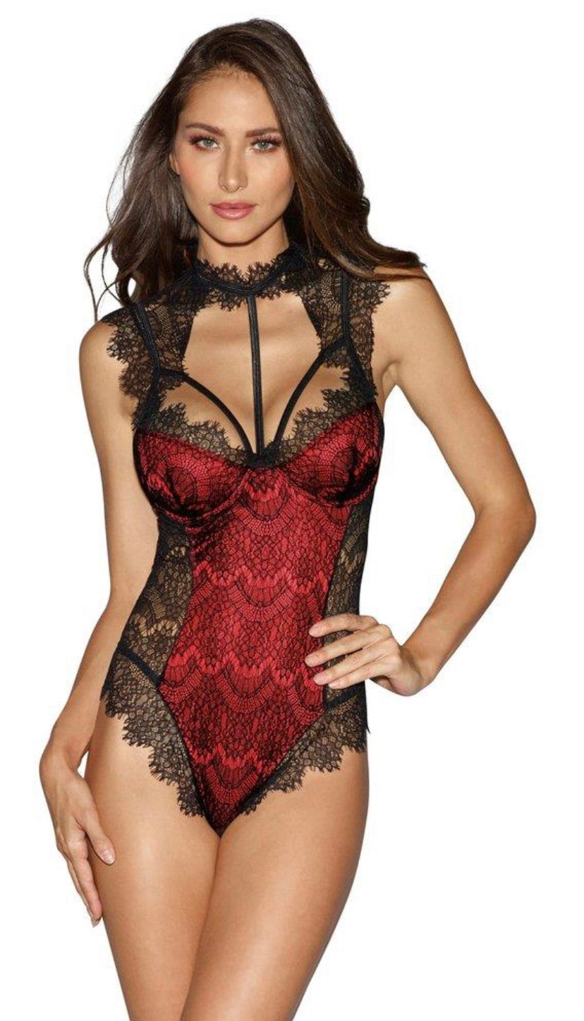 Sexy Lace Harness Teddy Red and Black