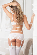 4pc Sensual Open Cup Bra and Garter Mini Skirt