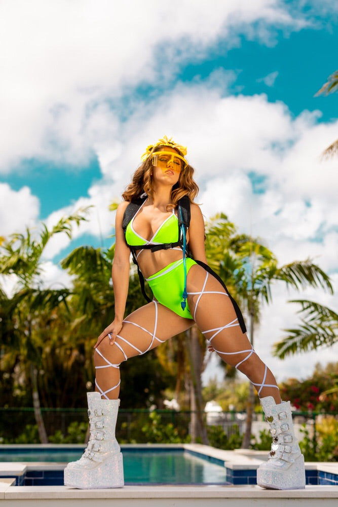 Exclusive   2pc Neon Lime Rave Body Wrap Outfit