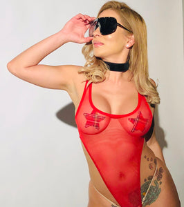 Exclusive Red Sheer Bodysuit PTS01