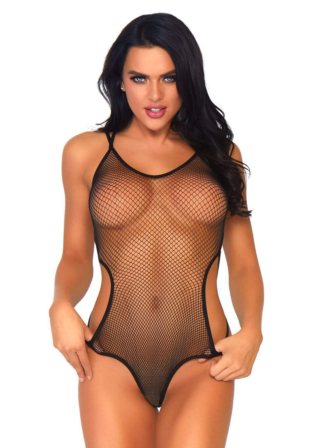 Fishnet Teddy with Open Back
