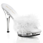 pleaser white slipper marabou