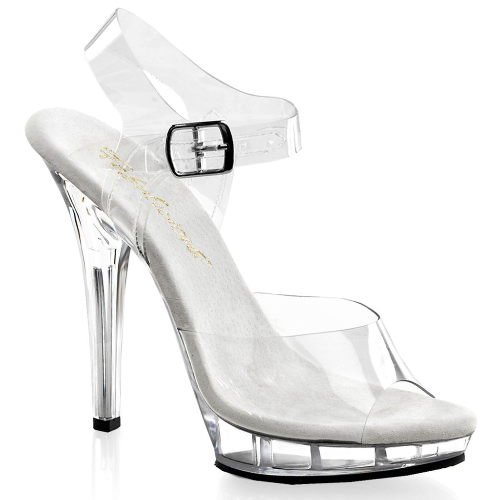 "5"" Heel Clear Ankle Strap Sandals"
