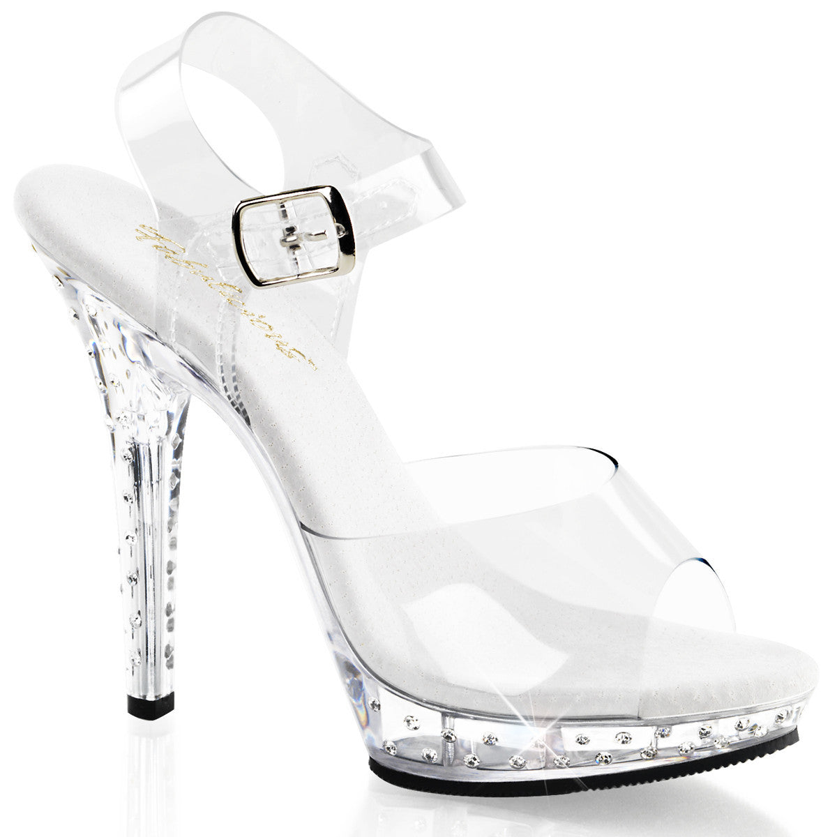 Glam Clear Sandal with Rhinestone Covered Heel