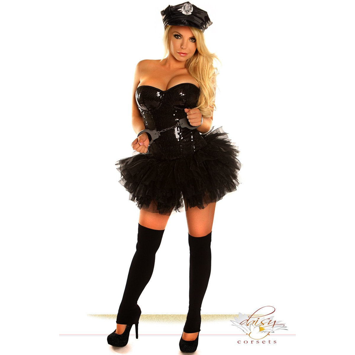 Black Sequin Pin-Up Cop - PlaythingsMiami