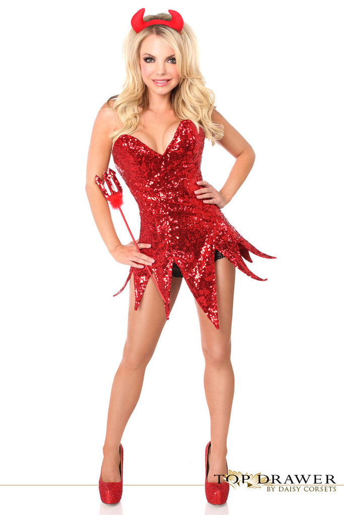 Red Sequin Devil Corset Dress