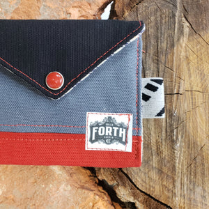 The Original Chapstick Wallet! The Avail Color block Black Grey & Red - Sally Forth Supply Co.