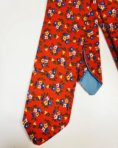 Red Vintage Floral Necktie - Sally Forth Supply Co.