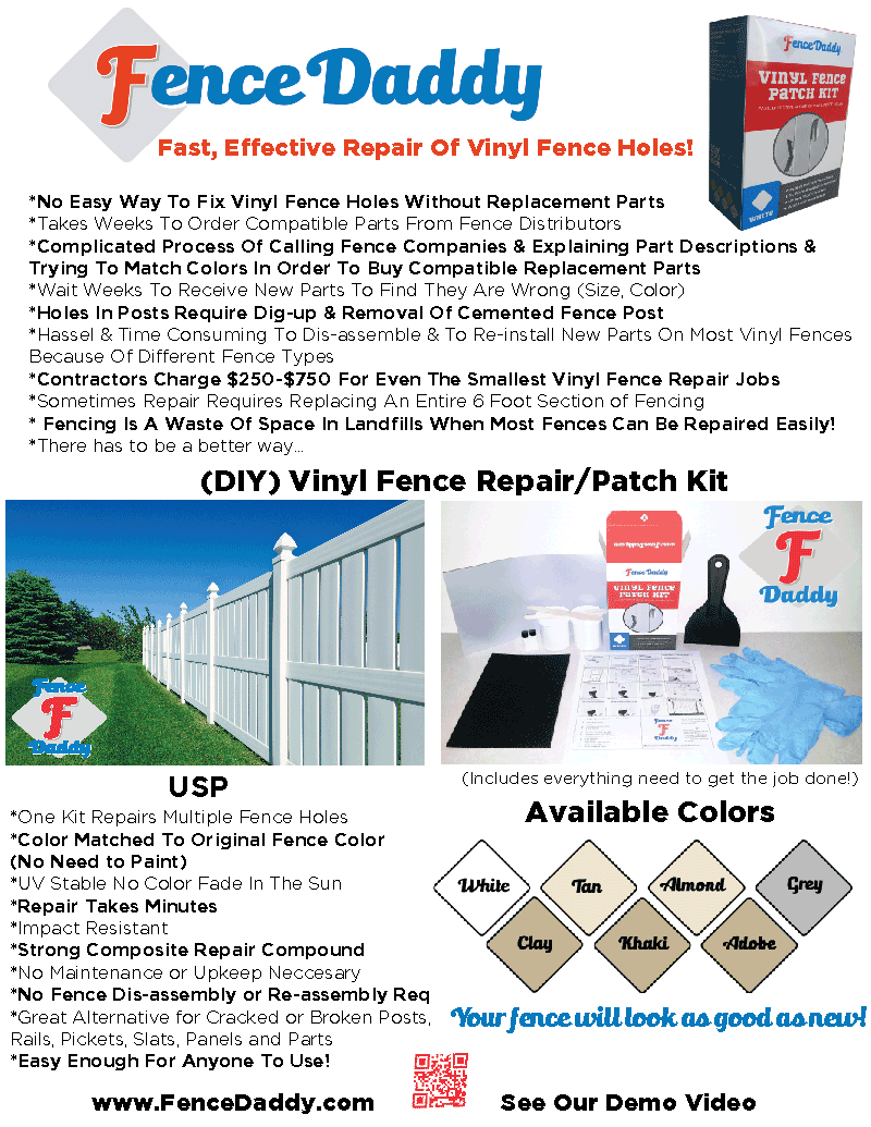 Vinyl Fence Repair Kit Sell Sheet by Fence Daddy