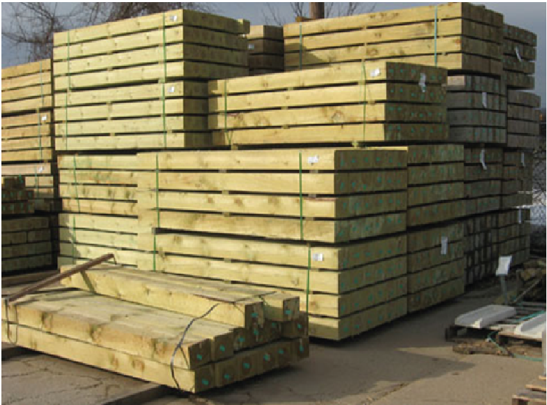Wood Fence Posts Stacked