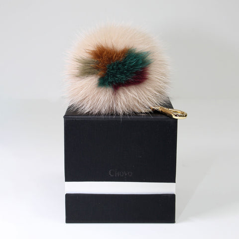 fox fur multi color pompom