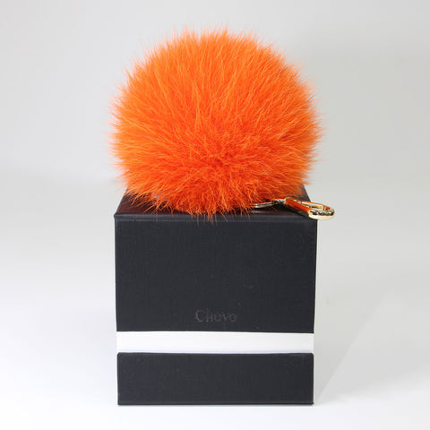Orange Fox fur Pompom Keyholder