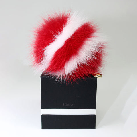 Red fox fur stripe pompom (L)