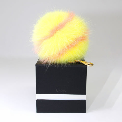 fox fur stripe pompom (L)