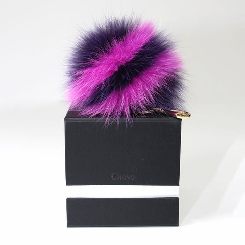 Purple fox fur stripe pompom