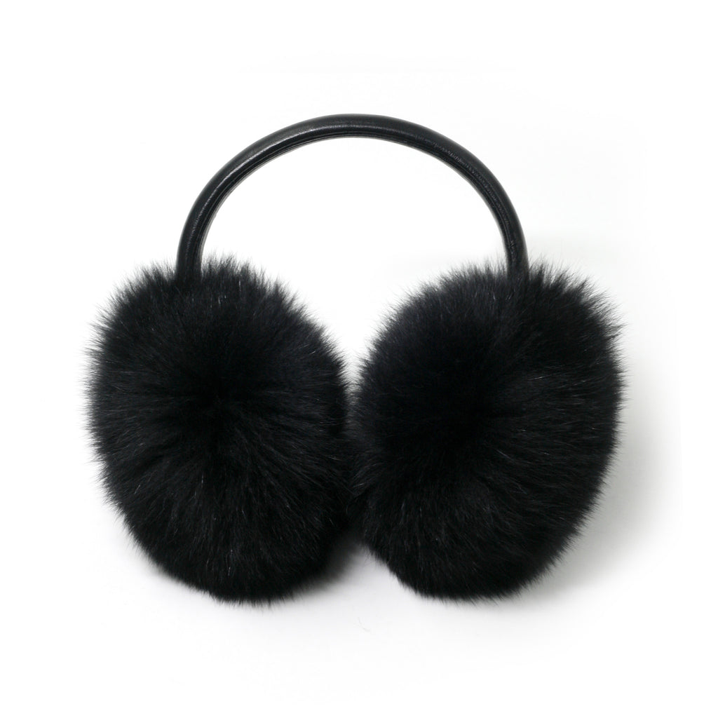 Black Fox Fur Earmuffs