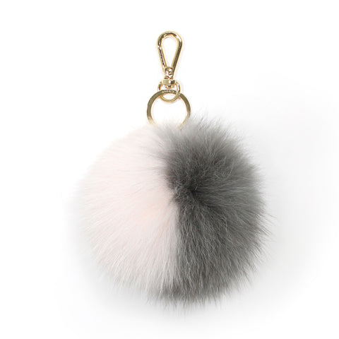 Grey fox fur two-tone pompom