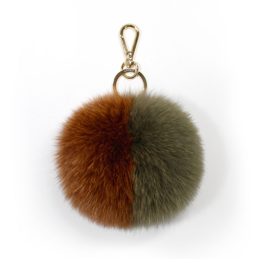 Olive fox fur two-tone pompom