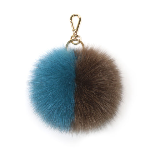 Blue fox fur two-tone pompom
