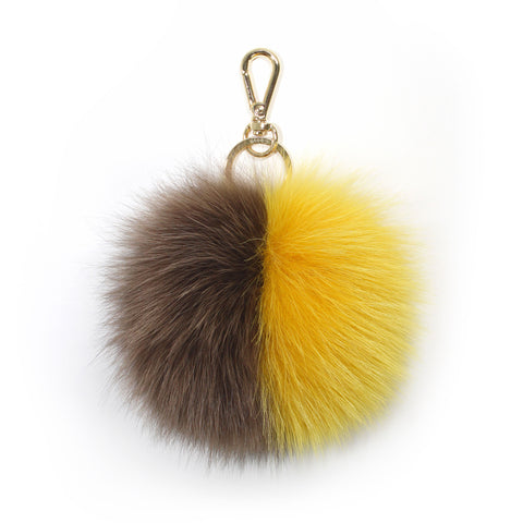 Yellow fox fur two-tone pompom