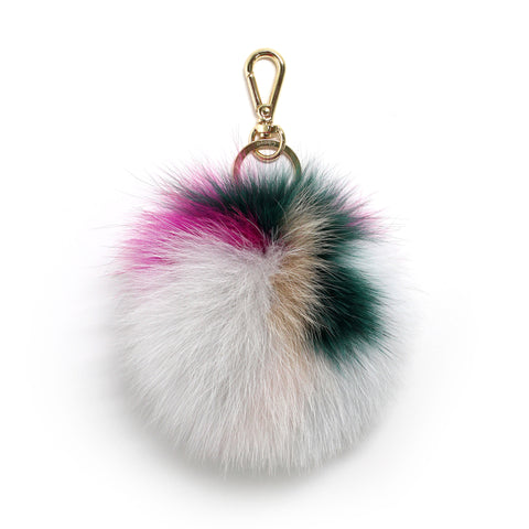 fox fur multi rainbow pompom
