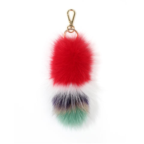 Red Multi-color Fox Tail Keyholder