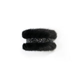 Black Mink slap bracelet with swarovski®