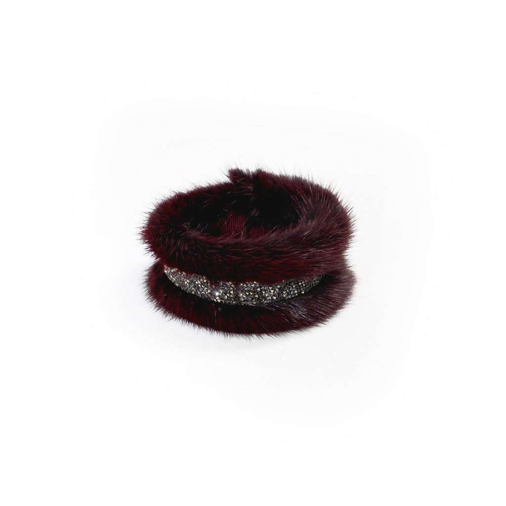 Bordeaux Mink bracelet with swarovski®