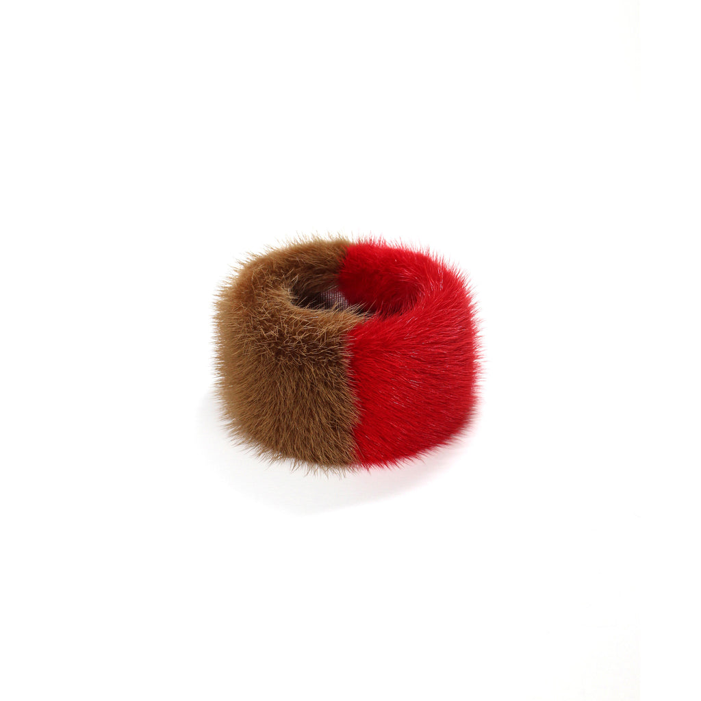 Red Double Mink slap bracelet (L)