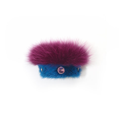 Blue double Mink slap bracelet