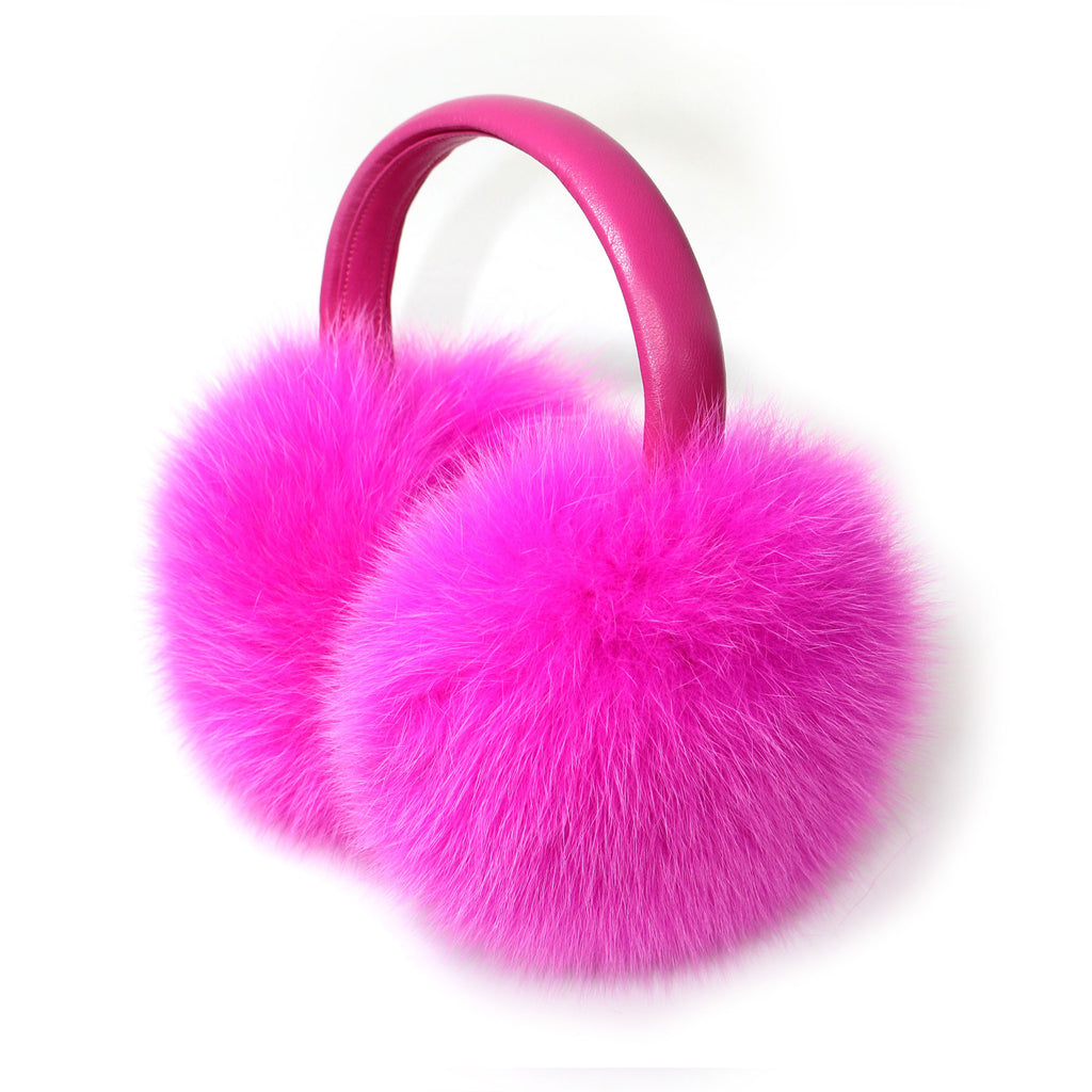 Hot Pink Fox Fur Earmuffs