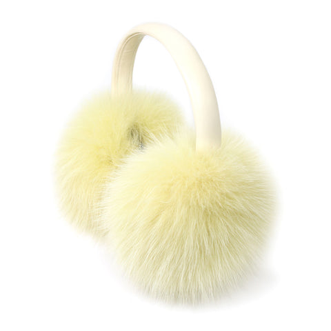 Yellow Fox Fur Earmuffs