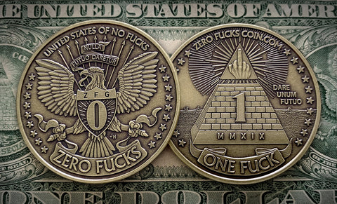 One Fuck/Zero Fucks Decision Maker coin - Eagle Coin, Pyramid Coin, Middle Finger Coin - Silver