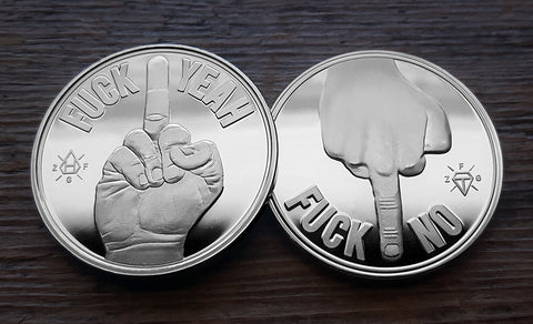 Fuck Yeah - Fuck No -Middle finger Decision Maker Coin - Silver