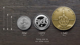 Bronze-IDGAF-Middle-Finger-Coin-Size Compare