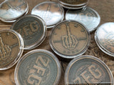 Bronze IDGAF Coins in capsules - skeleton Middle Finger Coin