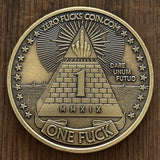 1 Fuck/0 Fucks Decision Maker coin - Eagle Coin, Middle Finger Coin - Silver