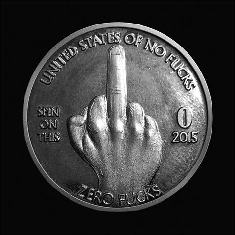 Zero Fucks Given Middle Finger Coin Front
