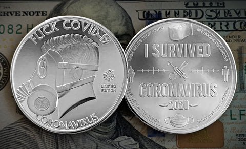 Fuck Covid-19 Coin (Gold), Coronavirus Commemorative Coin (front and back)
