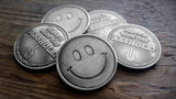 smiley coin, have a nice day asshole, middle finger coin
