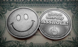 zero fucks middle finger coins, smiley face coins