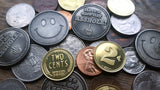 coin size comparison, two cents coins, smiley face coins, US currency